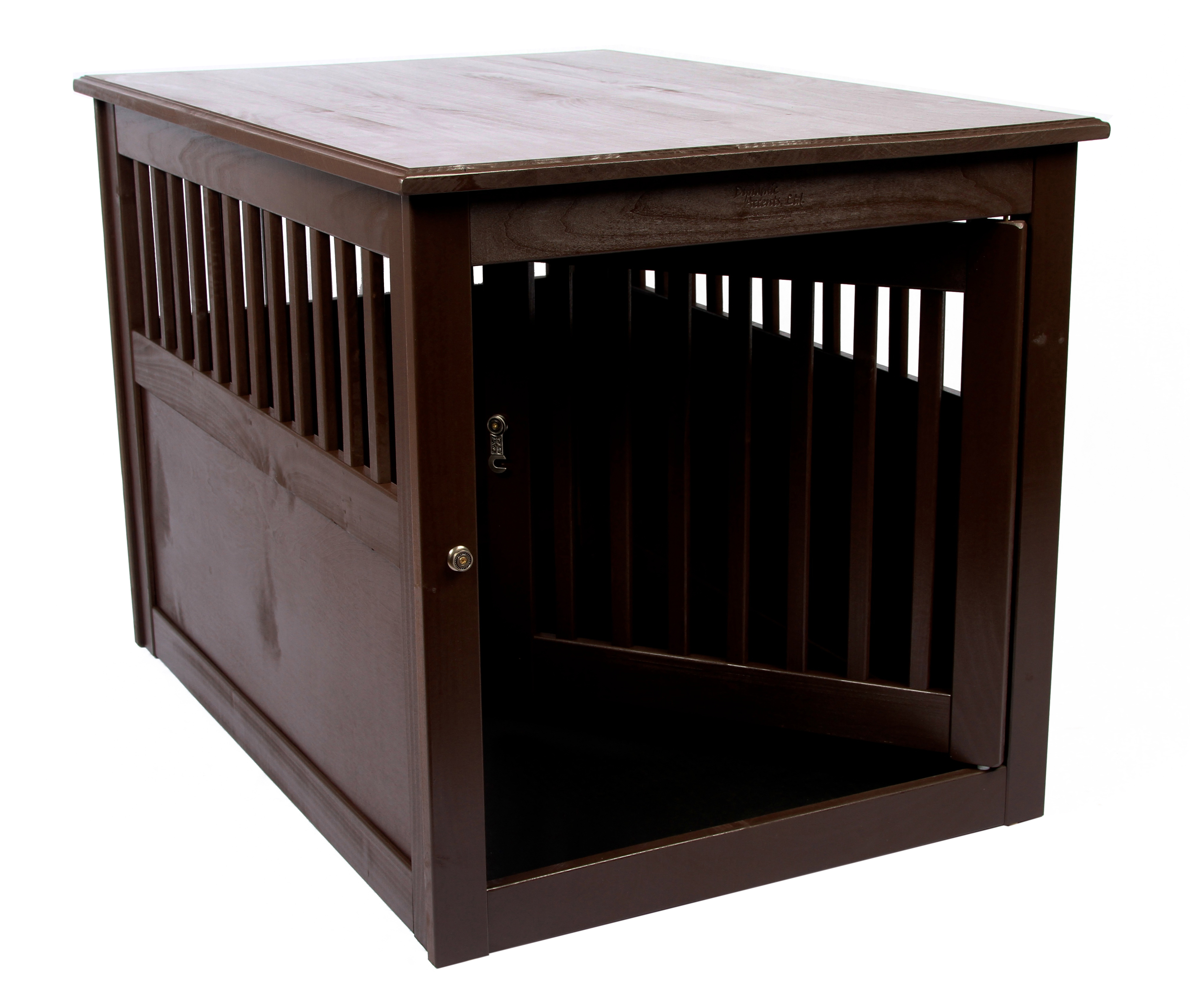 dynamic accents end table large dog pet crate hardwood mahogany 42166