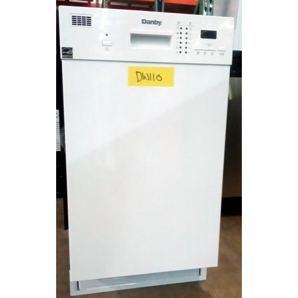 "Danby 18"" 8 Place Setting White Built In Dishwasher DDW1804EW DW110"