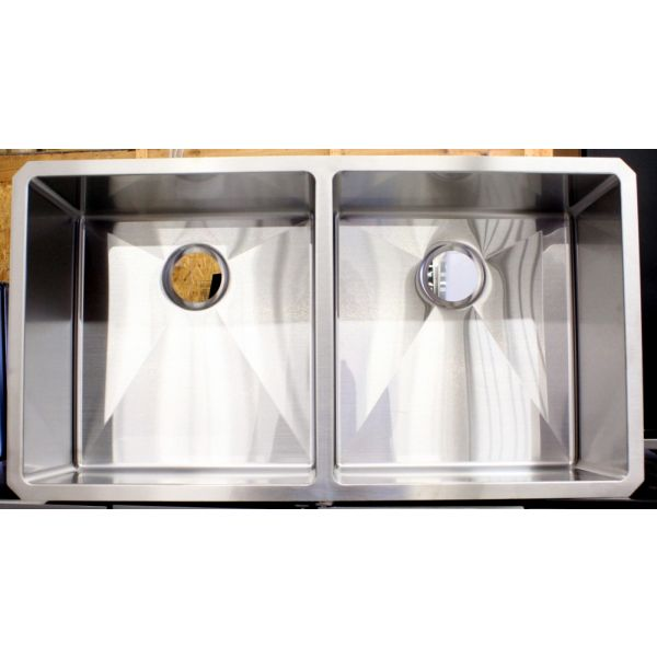 Ariel 37 Inch 16 Guage Undermount Double Bowl Stainless Sink ARL-R3720-AP
