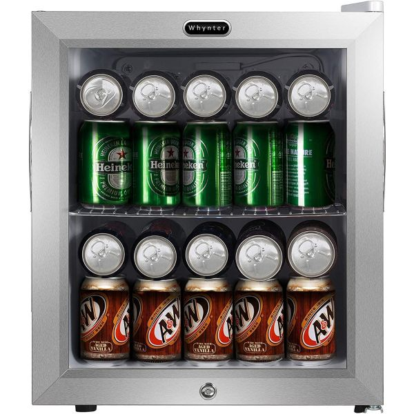 Whynter 62 Can Compact Beverage Refrigerator with Lock BR-062WS BC113