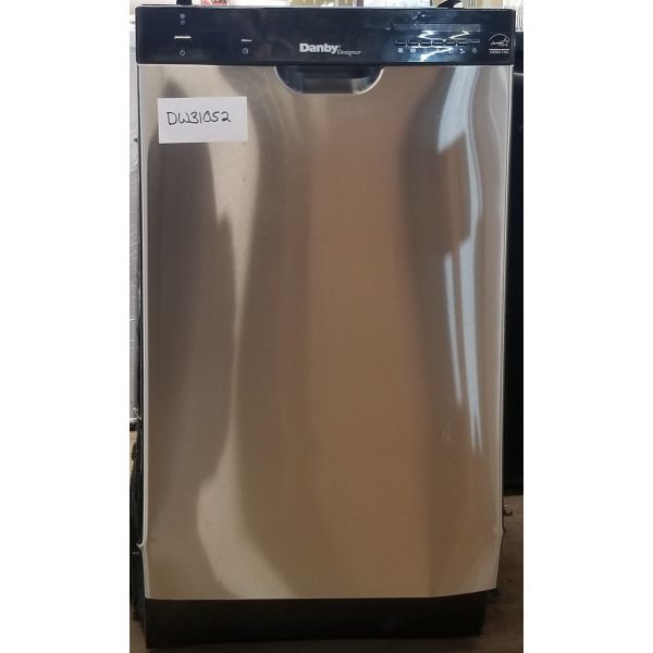 "Danby 18"" 8 Place Setting Stainless Built In Dishwasher DDW1802EBLS 052"