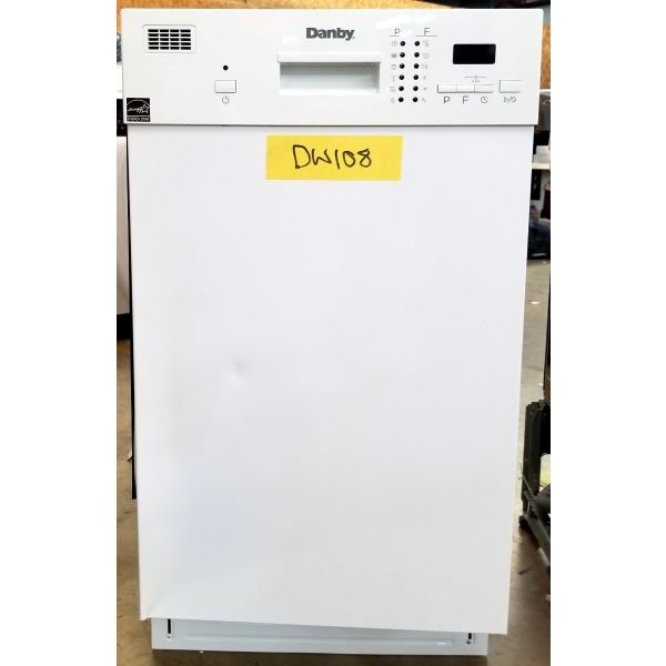 "Danby 18"" 8 Place Setting White Built In Dishwasher DDW1804EW DW108"