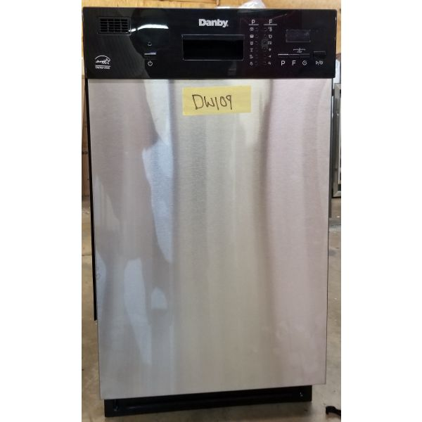 "Danby 18"" 8 Place Setting Stainless Built In Dishwasher DDW1804EBSS DW109"