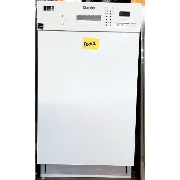 "Danby 18"" 8 Place Setting White Built In Dishwasher DDW1804EW DW112"