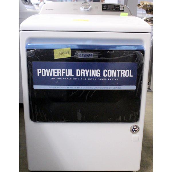 """Maytag 27"""" 7.4 CF Smart Wifi Gas Dryer, White MGD6230HW0GAS105"""