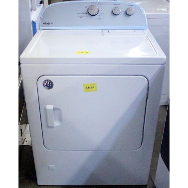 "Whirlpool 29"" 7.0 CF Auto Dry Gas Dryer, White WGD4815EW GAS114"