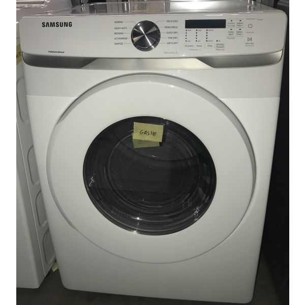 """Samsung 7.5 CF 27"""" ADA Compliant Gas Dryer with 10 Cycles, White DVG45T6000W GAS118"""